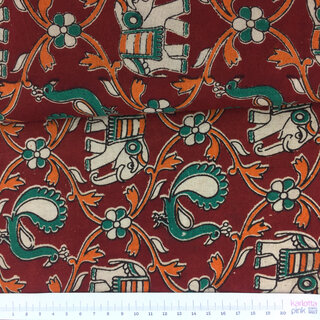 Blockprint Pfau Elefant rot orange