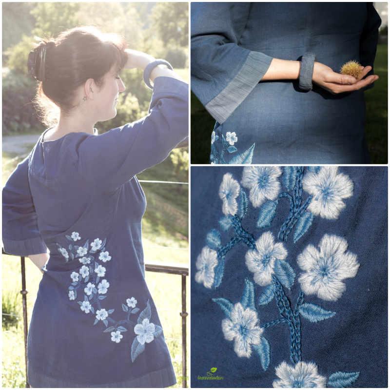 Kleid blauer Handloom Stoff