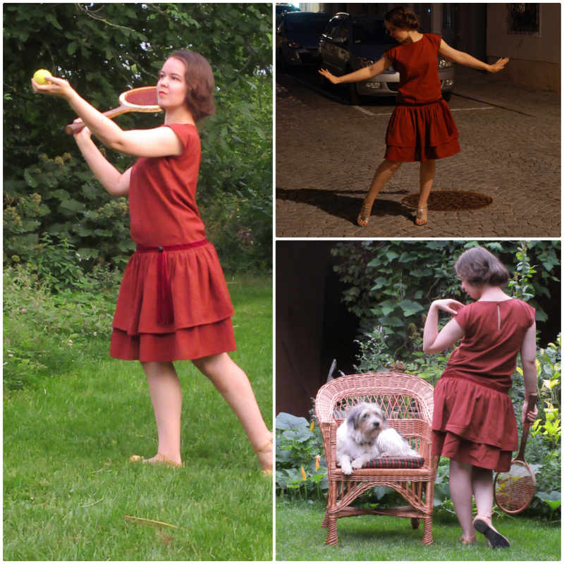 Vintage Kleid roter Handloom Stoff