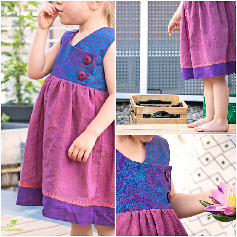 Indischer Handloom Borduerenstoff lila rosa Kleid August