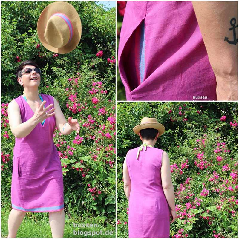 Indischer Handloom Stoff rosa Kleid Fanny