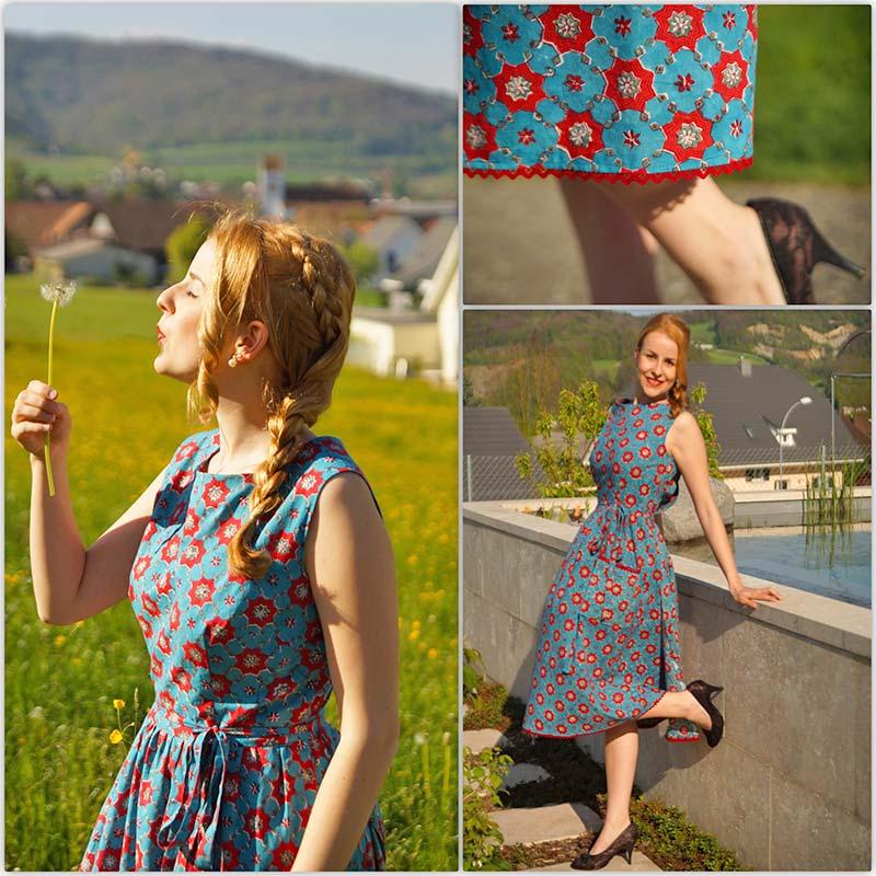 Kleid indischer stoff blockprint türkis rot
