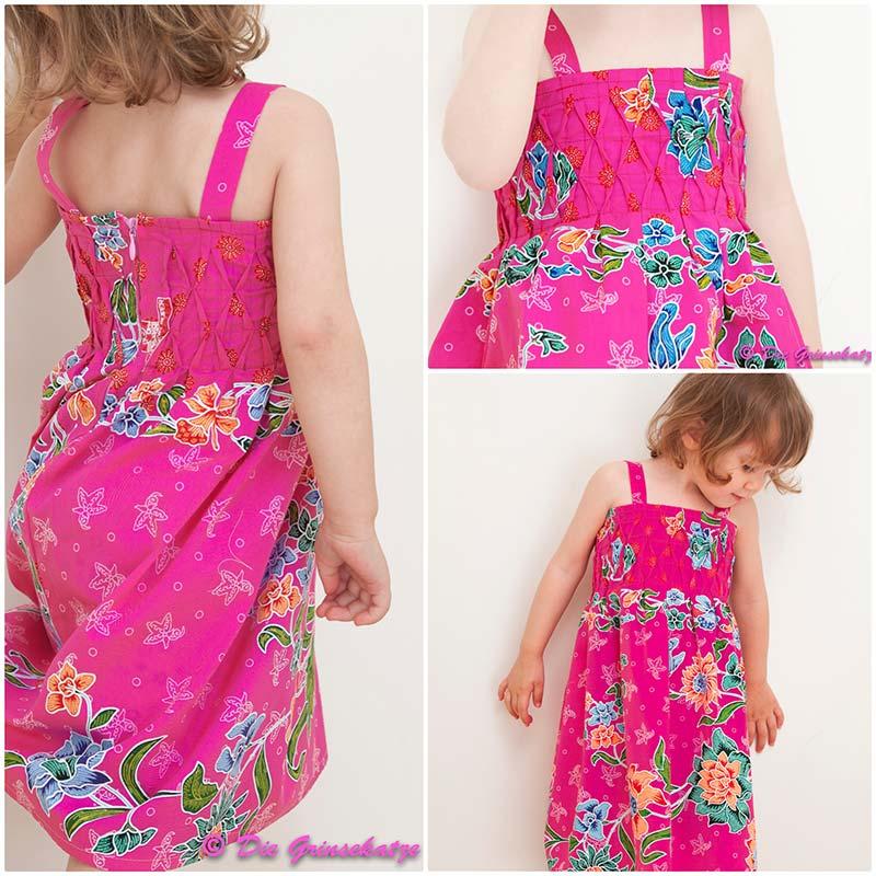 Kleid aus orientalischem Sarongstoff rosa