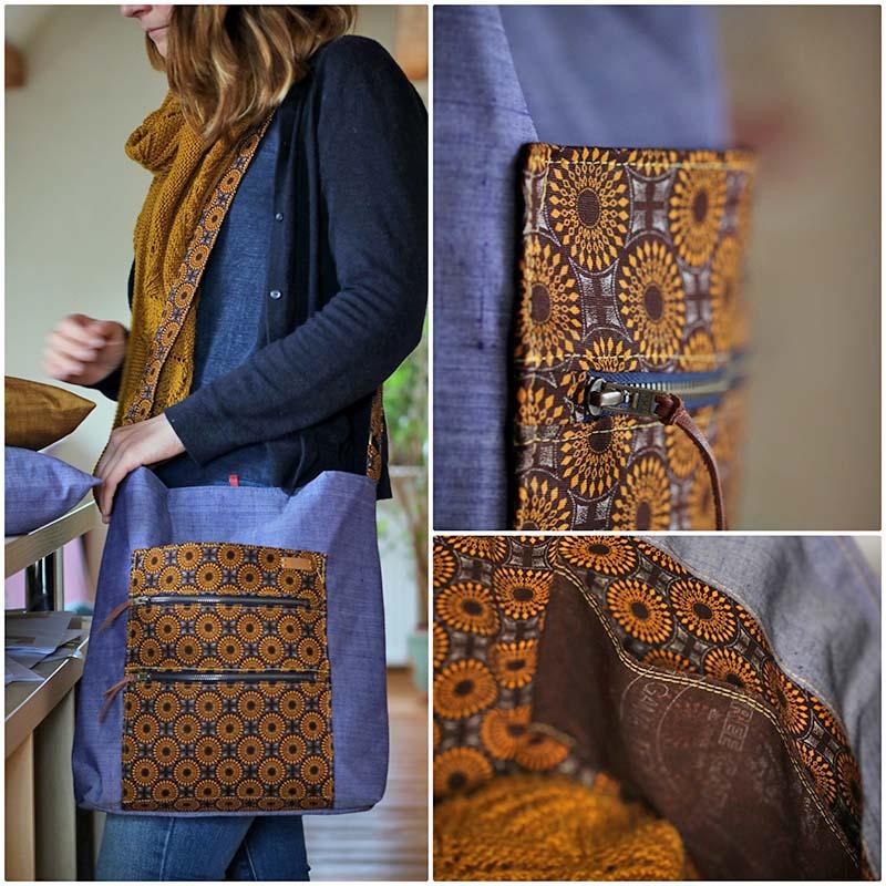 Indischer handloom stoff und afrikanischer shweshwe stoff tasche